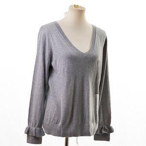 Banana Republic Factory Sweaters - Banana Republic Women's Gray V-Neck Sweater XL